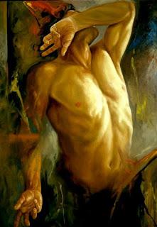 torso masculino al oleo sobre lienzo