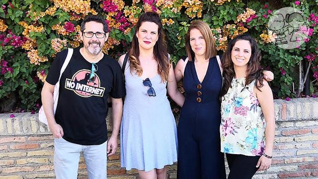 Los asistentes al blogtrip en #UtreraEnFamilia, JM de La Parejita de Golpe, Laura de El Alma de Mamá y Mari Paz de M_PazPalacios, junto a Cristina de Adoro Ser Mamá.