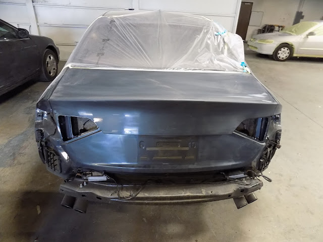 Audi S4 getting ready for paint after collision repairs at Almost Everything Auto Body.
