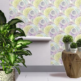Watercolour Mandala design wallpaper by Mimi Pinto