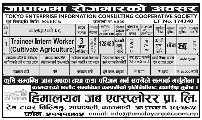 Jobs in Japan for Nepali, Salary Rs 128480