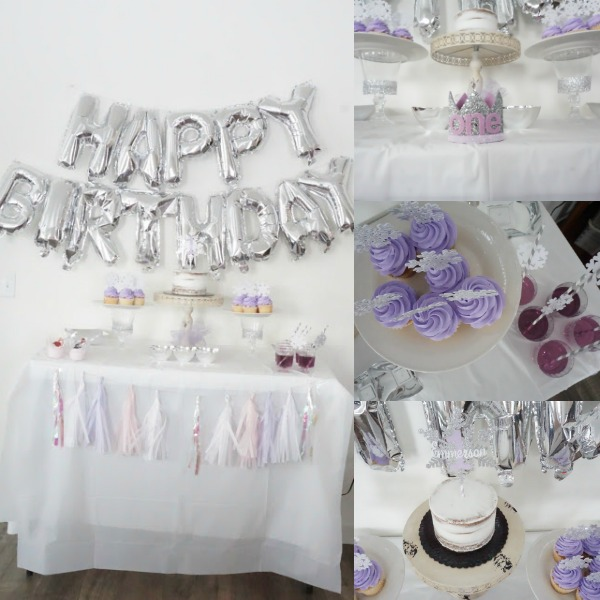 Winter themed 1st birthday party decorations.