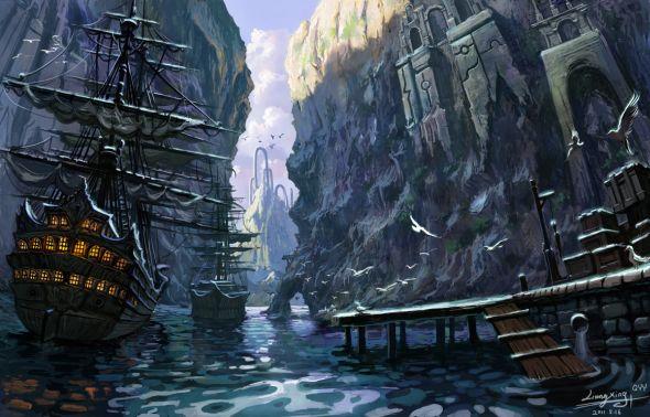 Liang Xing ilustrações fantasia games Cenários