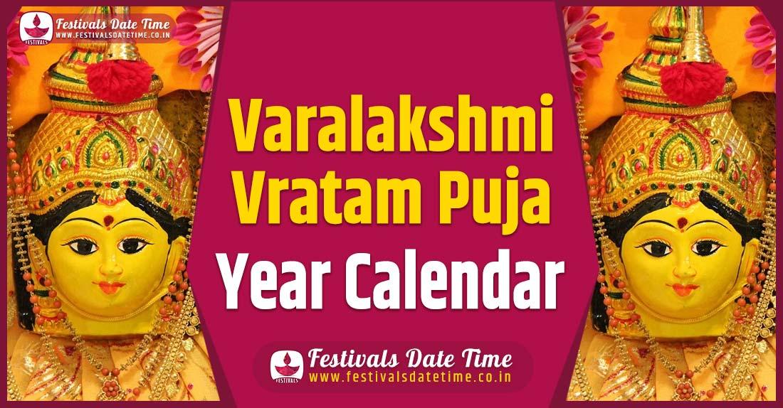 Varalakshmi Vratam Puja Year Calendar