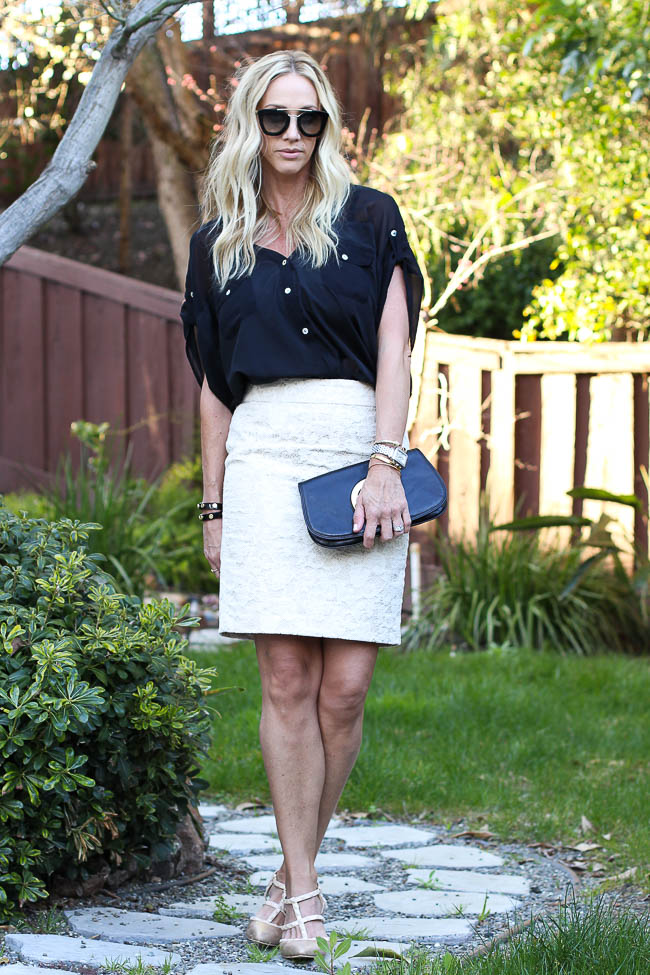 black chiffon top with lace pencil skirt