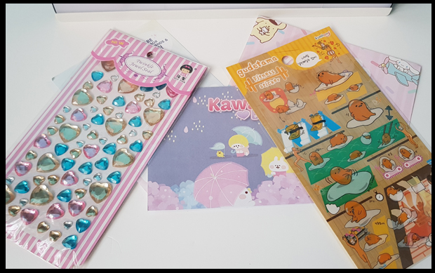 Stickers and Jewel deco diamonds in November's Kawaii Box