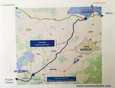 Mapa de Autopistas de Michoacán: Autopista Cuitzeo -Patzcuaro