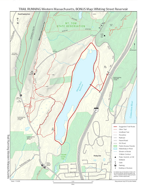 map of trails at Whiting Street Reservoir in Holyoke, MA