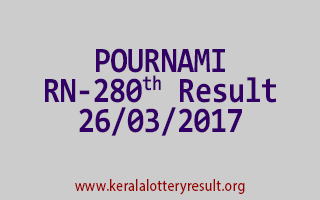 POURNAMI Lottery RN 280 Results 26-3-2017