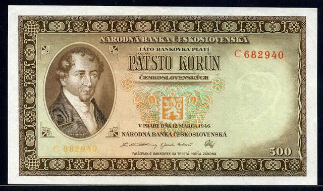 Czechoslovakian banknotes money currency 500 korun