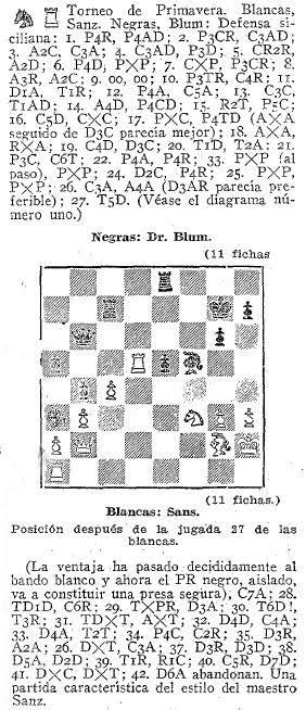 Partida de ajedrez Sanz-Blum - ABC 23 de mayo de 1936