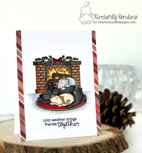 holiday card by Kimberly Rendino | Newton's Nook | cozy | cat | dog | Christmas | papercraft | cardmaking | handmade card