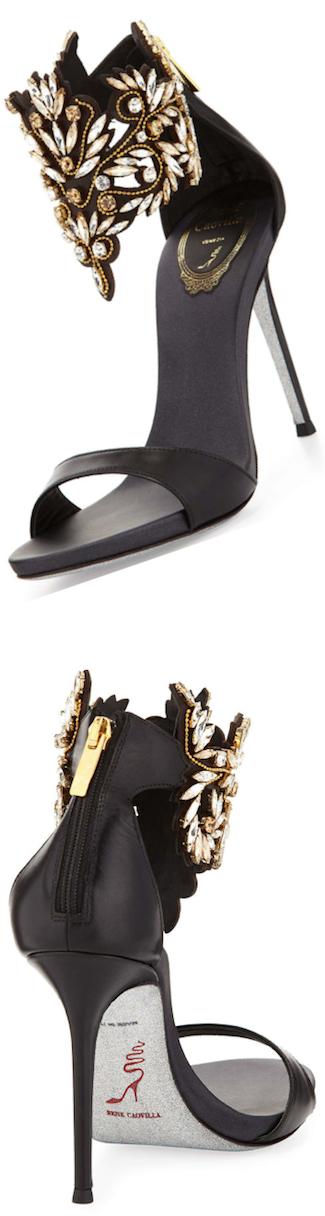 Rene Caovilla Embellished Ankle Cuff Sandal, Black