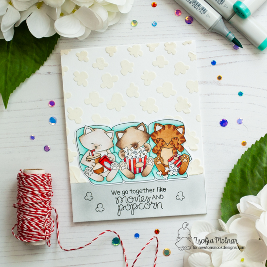 Cats and Movie card by Zsofia Molnar  | Newton's Movie Night Stamp Set and Popcorn Stencil by Newton's Nook Designs #newtonsnook #handmade