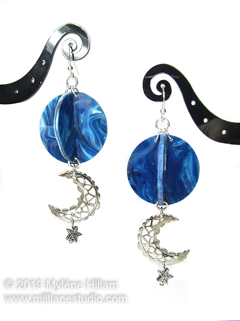 Marbled Blue orb beads with crescent moon and star charms