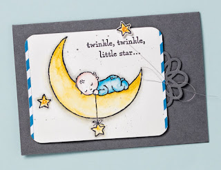 Stampin' Up! Moon Baby stamp set + Watercolor Pencils from 2017 Occasions Catalog #stampinup