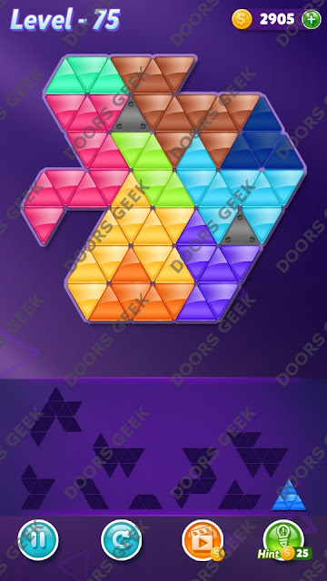 Block! Triangle Puzzle 9 Mania Level 75 Solution, Cheats, Walkthrough for Android, iPhone, iPad and iPod