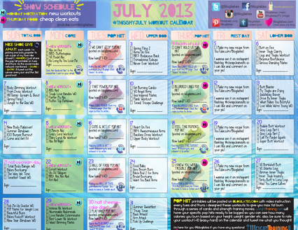 Eat Hard Work Hard Workout Wednesday Blogilates July Calendar Review