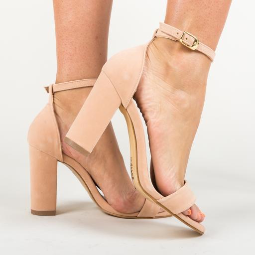 Sandale roz din piele intoarsa eco cu toc gros confortabile