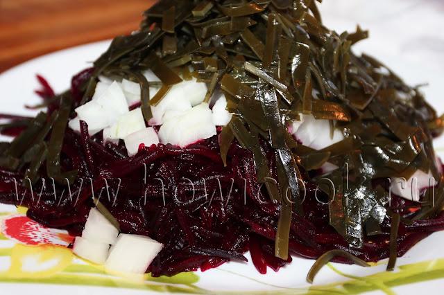рецепт салата с морской капустой и свеклой с пошаговыми фото