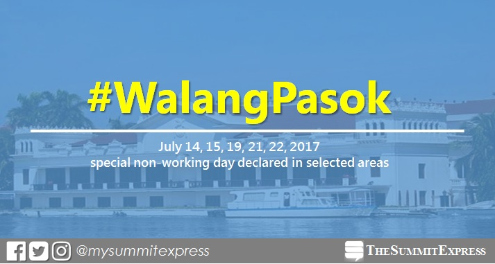 July 14, 15, 19, 21, 22, 2017 local holiday declared in selected areas