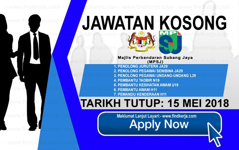 Jawatan Kerja Kosong MPSJ - Perbandaran Subang Jaya logo www.findkerja.com mei 2018