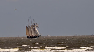 Schooner ship in full sail