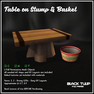 Mesh - Table on Tree Stump and Basket
