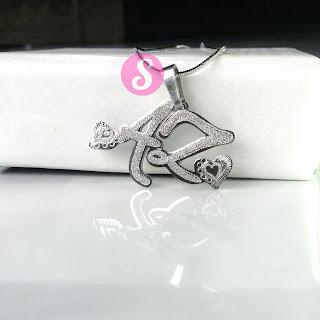 kalung nama monel silver grafir - az