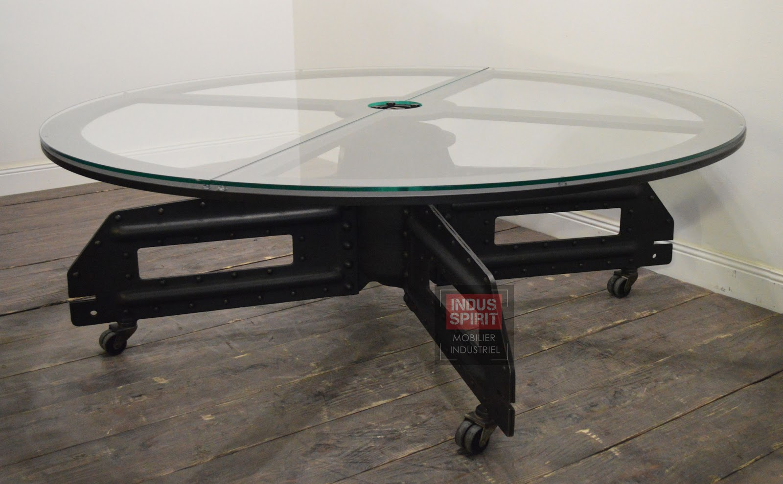 Table Basse Industrielle Ronde Plateau Tournant