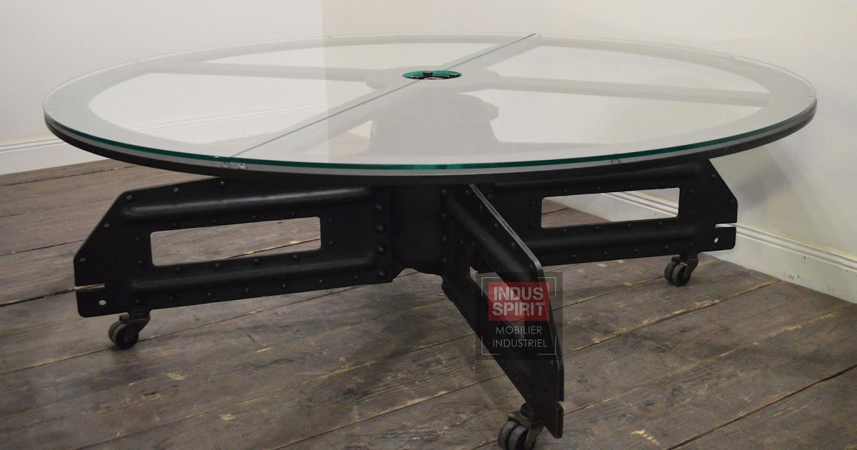 table basse industrielle ronde plateau tournant. Black Bedroom Furniture Sets. Home Design Ideas