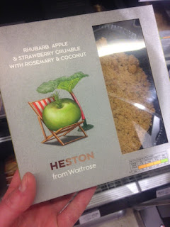 heston waitrose rhubarb strawberry crumble rosemary coconut