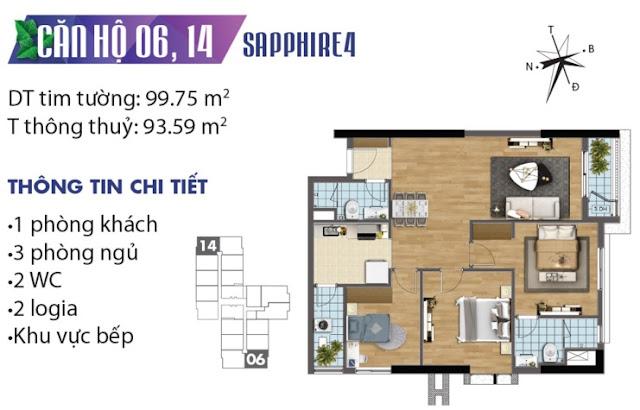 Mặt bằng thiết kế căn số 6 và 14 tòa Sapphire 4