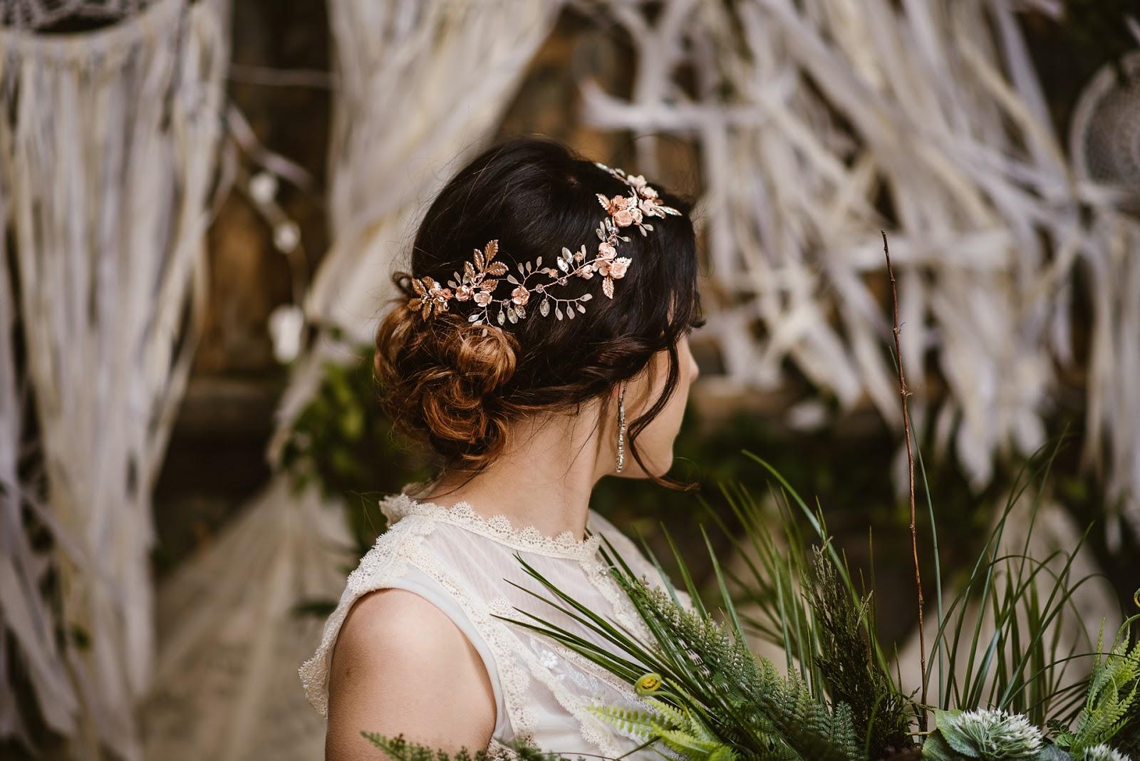 Biżuteryjny wianek ślubny Flora Rose Gold