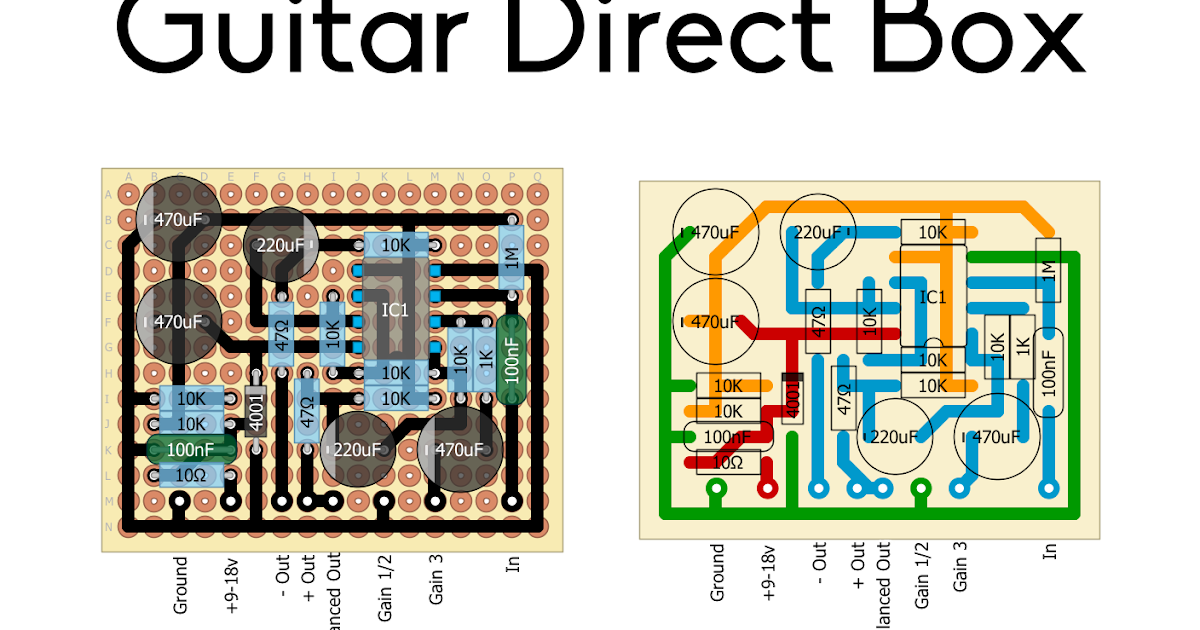 Perf and PCB Effects Layouts: Guitar Direct Box Active Di Schematic on