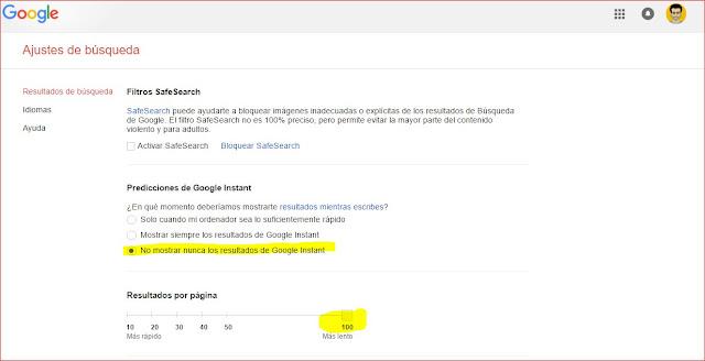 mostrar 100 resultados por página en google