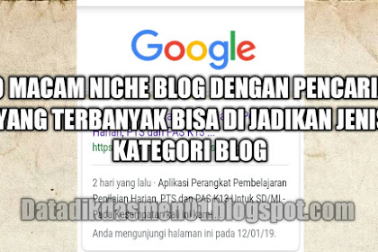 10 macam niche blog dengan pencarian yang terbanyak bisa di jadikan jenis kategori blog