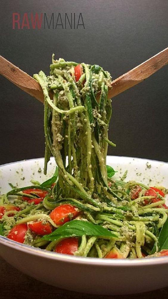 Zucchini Spaghetti with Pesto and Cherry Tomatoes - 12 Super Vegetable Spaghetti Recipes | GleamItUp