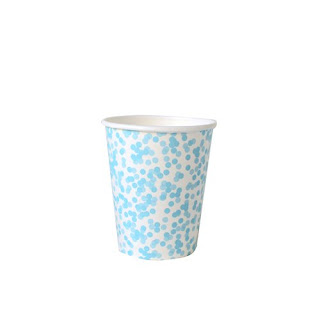 susty party paper cups with blue polka dots