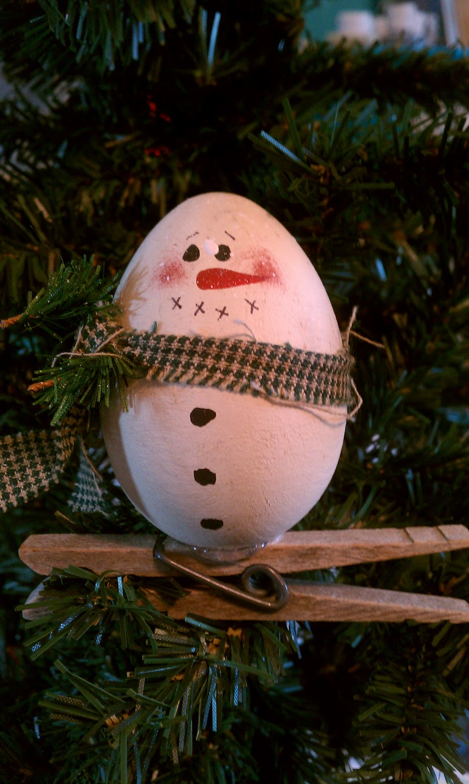 Handcrafted One At A Time Wood Egg Snowman