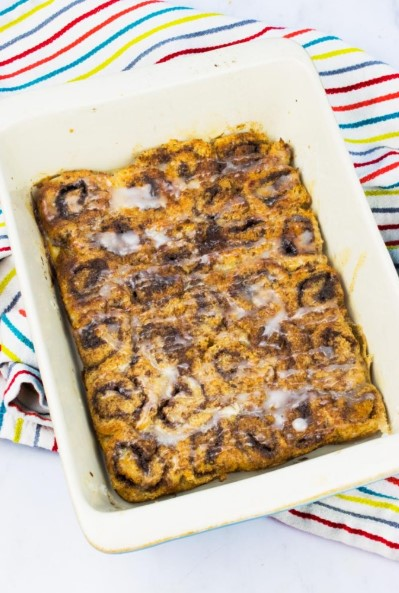 LOW SYN CINNAMON ROLL FRENCH TOAST BAKE