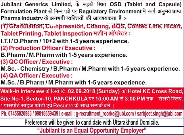 Jubilant Generics Ltd Walk In Interview For Multiple Positions - Quality Assurance, Quality Control, Production at 2 September