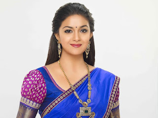 Keerthy Suresh in Blue Saree with Cute Smile in AVR Jewellers Ad Shoot Images 1