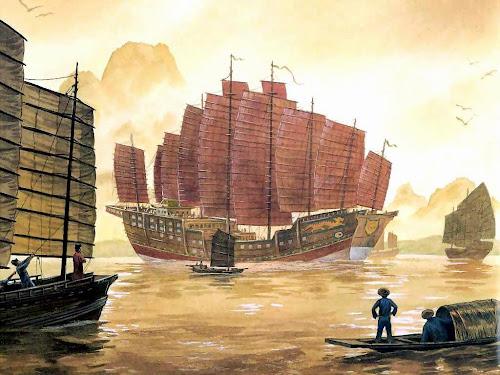 Pintura representando barcos de madeira da China antiga