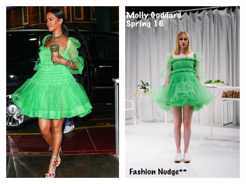 93b598525842d Style Lust - RIHANNA IN MOLLY GODDARD Neon GREEN DRESS