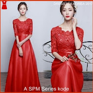 A4SPM Pakaian Dress Pesta Model Korea MAROON Bj138A