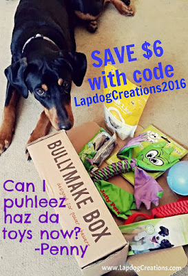 Penny Loves the Toys in Her Bullymake Box! #Bullymake Save $6 off any plan with coupon code LapdogCreations2016 #LapdogCreations