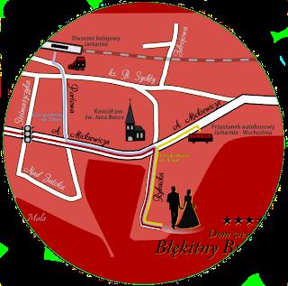 Przykład oznaczenia dworca kolejowego, przystanku autobusowego oraz tras przejścia.