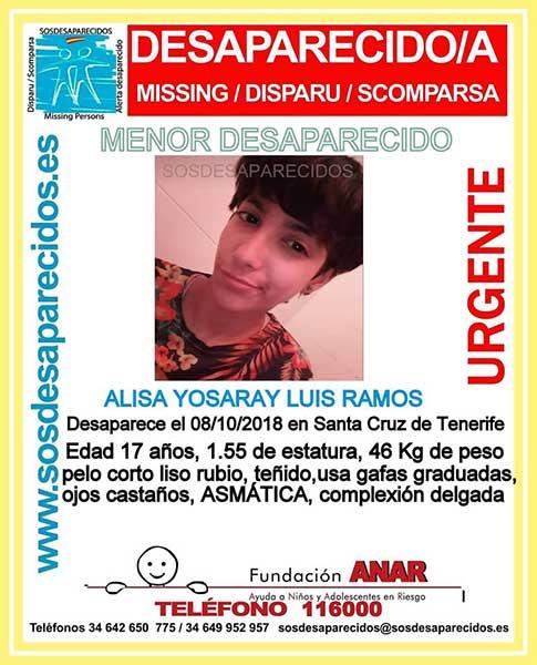 La menor Alisa Yosaray Luis Ramos se encuentra como desaparecida desde el pasado 8 de octubre