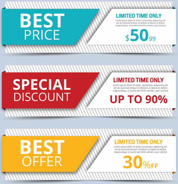 Sales promotion banners sets on 3d background Free vector